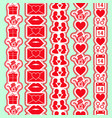 set of seamless valentine day vertical borders vector image