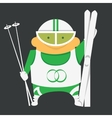 Skier with skiing equipment vector image