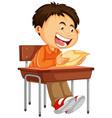a boy reading paper vector image vector image