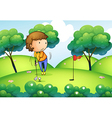 A woman playing golf at the top of the hill vector image vector image