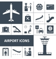 Airport Icons Black Set vector image vector image