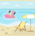 beach landscape with sunbed and sun umbrella vector image vector image