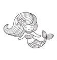 beautiful mermaid with long hair vector image vector image