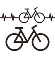 bike and heartbeat symbol vector image vector image