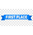 blue ribbon with first place title vector image vector image