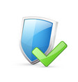 blue shield with green check mark vector image vector image