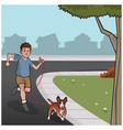 boy walking dog vector image vector image