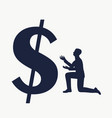 businessman in prayer pose vector image vector image