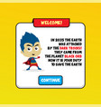 cartoon superhero game asset theme hero art vector image vector image