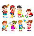 children holding the cleaning tools to clean vector image vector image