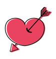 color arrow design inside heart love icon vector image vector image