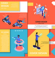 colorful cover design banners set with copy space vector image vector image