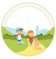 colorful happy kids in rural landscape vector image vector image