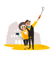 couple make selfie on rio christ backround vector image vector image