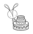cute little rabbit with sweet cake vector image vector image