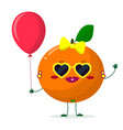 cute orange cartoon character sunglasses hearts vector image vector image