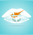 cyprus flag lipstick on the lips isolated on a vector image vector image