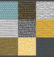 decorative hand drawn seamless patterns vector image