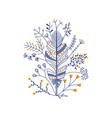 feather with flowers in dark blue vector image vector image