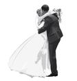 Figures hugging honeymooners in gray vector image vector image