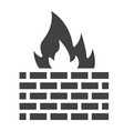 firewall solid icon security and brick wall vector image vector image