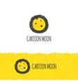 funny cartoon moon logo Trendy hand drawn vector image