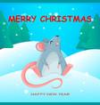 funny rat cartoon character year rat vector image