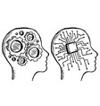 gear and chip in head doodle style vector image vector image