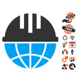 global helmet icon with valentine bonus vector image vector image