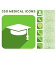 Graduation Cap Icon and Medical Longshadow Icon vector image vector image