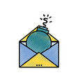 grated e-mail message information with bomb virus vector image