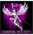 Grunge poster with girl dancer vector image