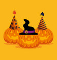 halloween card with pumpkins and hats vector image