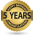 Happy birthday 5 years golden label vector image vector image