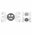 happy smile circuit mosaic icon uneven parts vector image vector image