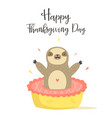 happy thanksgiving day card with cute sloth vector image