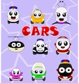 Kawaii cute icons such as car bus train tram vector image