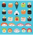 kawaii food emoticon japanese sushi vector image