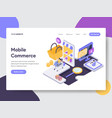 landing page template of mobile commerce concept vector image vector image