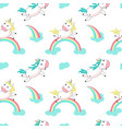 magic unicorn with rainbow seamless pattern vector image vector image