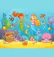 mermaids among the fishes hold hands vector image vector image