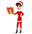 merry christmas greeting card pretty woman in vector image