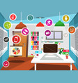 office room with circle icons vector image vector image