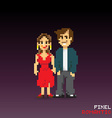 Pixel romantic couple vector image