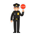 police officer stop sign policeman law justice cop vector image vector image