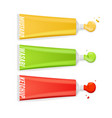realistic detailed 3d different sauce tube packing vector image vector image