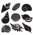 sea shells seashell silhouettes set vector image vector image