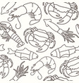 seamless pattern in thin line style for seafood vector image