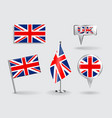 set british pin icon and map pointer flags vector image