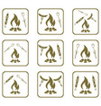 set of cooking on campfire icons vector image